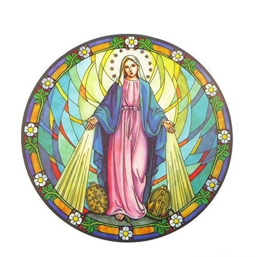 Adesivo catturaluce con vergine Maria miracolosa,riutilizzabile,15cm,per vetri e finestrini - Miracolosa Vergine
