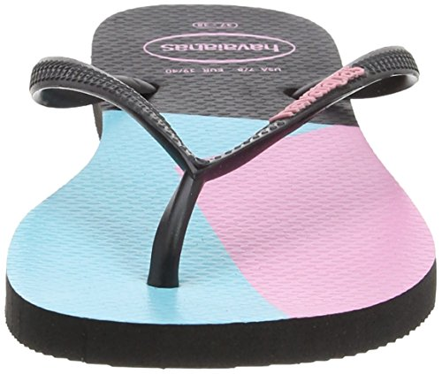 Havaianas Slim Block Colors, Tongs  Femme Multicolore (Black/Black 1069)