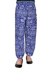 SHOP FRENZY Harem Fashionable Stylish Comfortable Regular Fit Printed Indo Western Bottom Wear Elastic Closure Ankle Length Blue Pyjama for Women's/Girls/Ladies