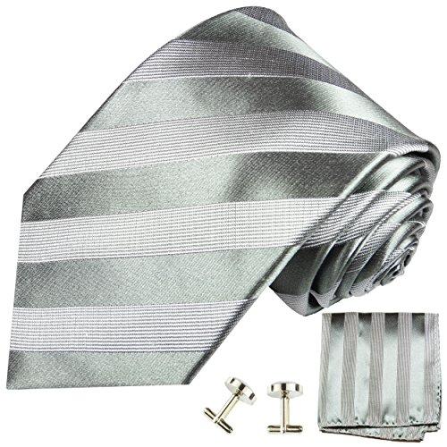 Cravate homme argenté gris rayée ensemble de cravate 3 Pièces (longueur 165cm)