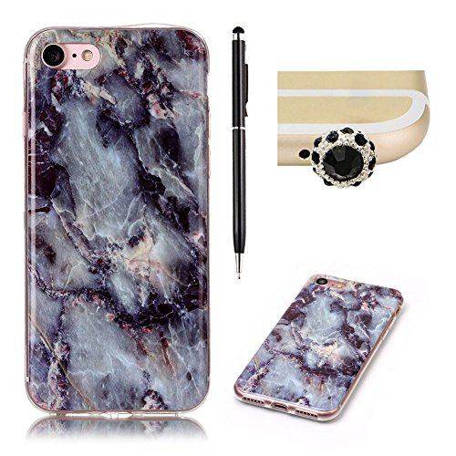 SKYXD iphone 7 Hülle in Marmor Natürlich,Silikon Optik Weich Dünn Kratzfeste Gummi Handy Schutz Schale mit [Handyanhänger + Eingabestifte] Etui für Apple iphone 7 4.7