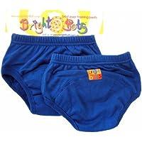 Bright Bots - Mutandine di apprendimento, confezione doppia, XL, 30 - 36 mesi, colore: Blu