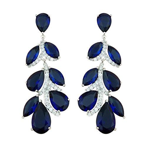 ck Blau Saphir-Farbe Blatt Shape Kristall Ohrhänger Braut Hochzeit hängend Ohrringe (Halloween-farbe Blatt)