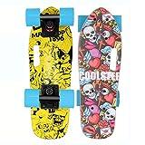 FGKING Mini Longboard Skateboard, Skateboard Standard 7 Strati Acero Russo Skateboard Completo Skateboard Cruiser con Manico per Principianti,4
