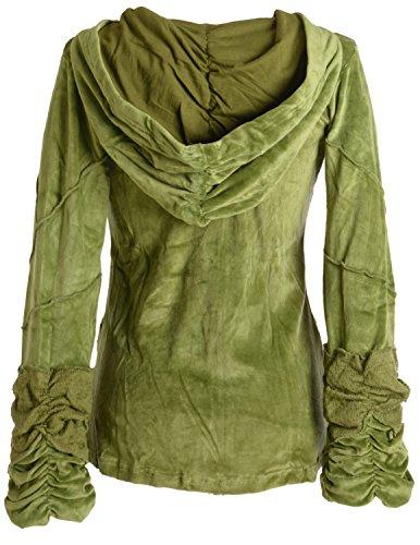 Vishes �?Alternative Bekleidung �?kuschelige Samtjacke mit extra großer Kapuze Olivegrün