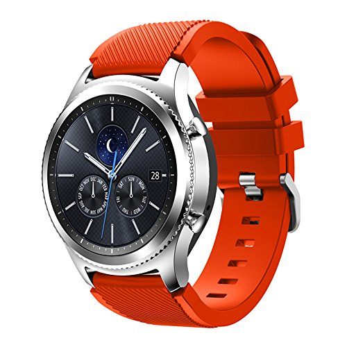 XingWangFa for Samsung Gear S3 Frontier/Classic Straps Armbands 22mm Soft Silicone Sport Armband Replacement Strap for Samsung Gear S3 Frontier/Classic SmartWatch-Orange -