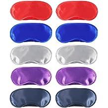 10 Piezas de Máscara de Ojos Máscara de Dormir de Satén Cubierta Antifaz con Almohadilla de Nariz para Viaje Dormir, 5 Colores