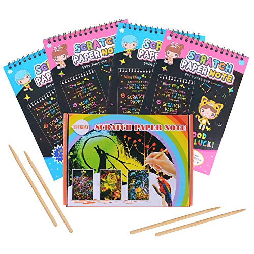 der,LUCKDAY Kratzpapier Kinder 40 Große Blätter Regenbogen Kratzpapier zum Zeichnen und Basteln mit Holzstiften ()