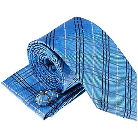 Scozzese stili in tessuto da uomo cravatta w/tasca quadrato e gemelli set regalo - Stile Quadrato Gemelli