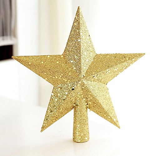Colorfulworld Christmas Tree decoration Top Star Baubles Glitter finish 20cm (gold)