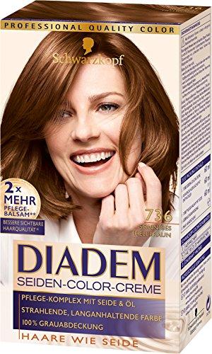 Diadem Seiden-Color-Creme 736 Sonniges Hellbraun Stufe 3, 3er Pack (3 x 180 ml)