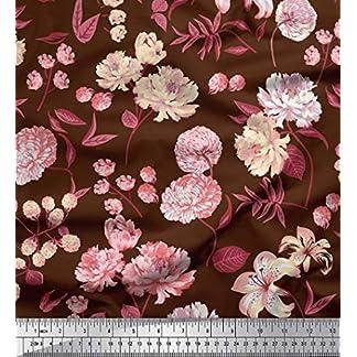 Soimoi Verde Georgette poli Tela hojas, peonía y la dalia flor tela estampada impresa por metro 42 Pulgadas de ancho