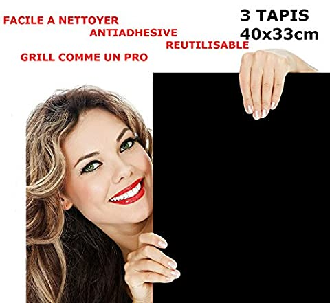 "Barbecue Grill Mat BBQ HIGH QUALITY Reusable Teflon 16"" x 13"" - 3 pcs - Perfect for gas charcoal plancha and electric grills – durable , heat resistant - for meat , vegetables , seafood ,"
