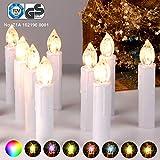 CCLIFE GS/CE LED Weihnachtskerzen Kabellos RGB Kerzen Bunt Weihnachtsbaumkerzen Christbaumkerzen mit Fernbedienung Timer Kerzenlichter, Farbe:Weiss, Größe:20er