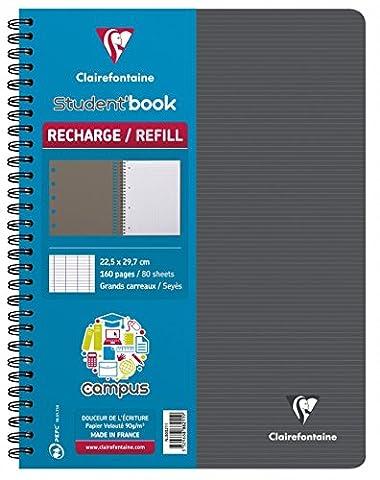 Clairefontaine Campus 888211C Cahier -Recharge à spirale pour Student'Book 160 pages grands carreaux 90 g 22,5 x 29,7 cm Couleur Aléatoire