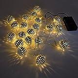 Batterie LED Weihnachtslichter Weihnachtsbaum Lichterkette Deko Große Silberne Kugel Warmweiß Beleuchtung Länge 3 Meter 30er LED mit Konstanten und Funkelnden Beleuchtungsmodi de Enuotek