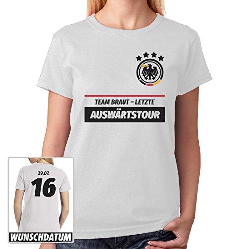 JGA Frauen Shirt Kombi Team Braut Letzte Auswärtstour WUNSCHDATUM Frauen T-Shirt X-Large (Kostüm Fußball Ideen Frauen)