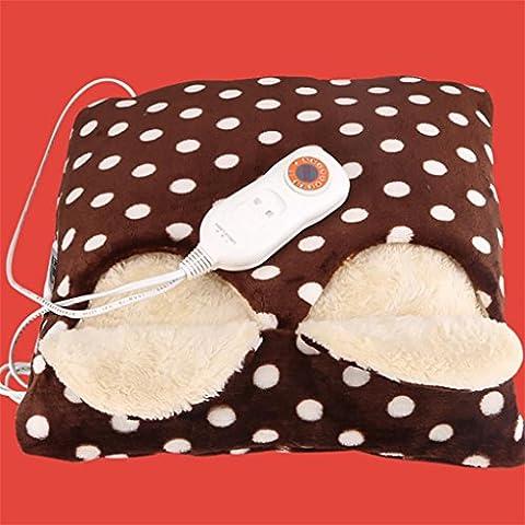 G&M Scarpe di Bao elettrico riscaldamento riscaldamento scarpe piedi scalda piedi scalda calore scalda Pad cuscini sono sfoderabili e lavabile peluche può essere lavata , coffee color