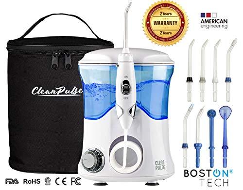 Clean Pulse Pro - Irrigador bucal -Irrigador Dental Profesional, 8 Boquillas, Depósito 600 ml. de Agua...