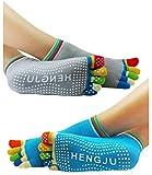 #5: Neska Moda Premium Women's Cotton Multicolor 2 Pair Five Finger Toe Yoga Ankle Socks - Anti-Skid,Anti-Slip