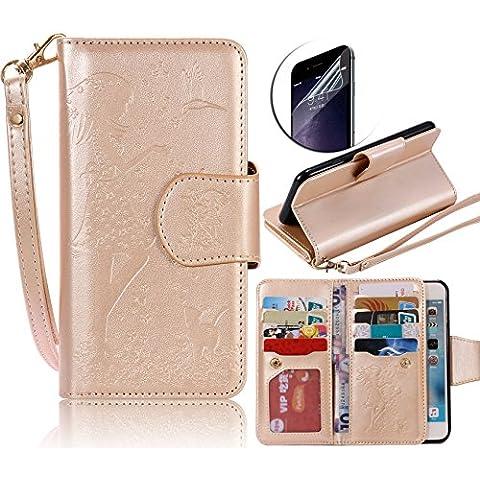 Sunroyal® Oro Funda Libro de Cuero Samsung Galaxy S7 - PU Leather Cover Carcasa Impresión Con Ultra Slim Flip Case para Samsung Galaxy S7 SM-G930F /SM-G9300 5.1