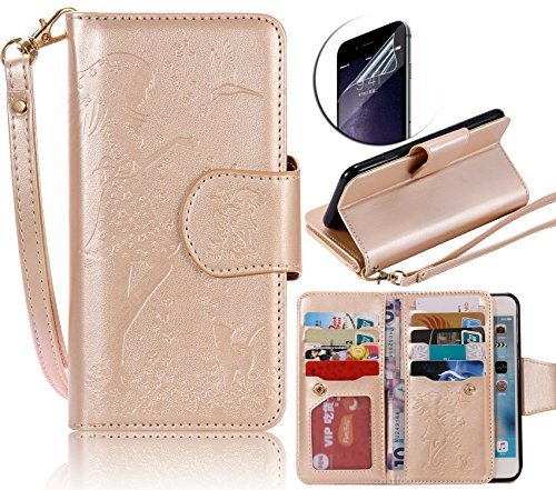 Coque pour iPhone 6S, Etui Housse pour iPhone 6, Sunroyal Portefeuille Magnétique Case Protection en Simili-cuir Bumper Motif Belle Fleur Back Cover Porte-cartes Premium Rabat Folio Skin Shell avec Su Pattern 14