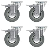 SPARES2GO Universal Heavy Duty Rubber Swivel Castor Wheels with Brakes (100mm, Pack of 4)