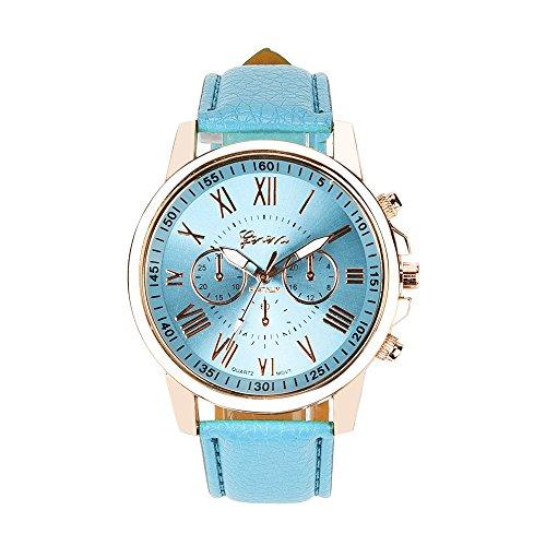 Uhren DELLIN Neue Damenmode Genf römischen Ziffern Kunstleder analoge Quarz-Armbanduhr (A Mehrfarbig)