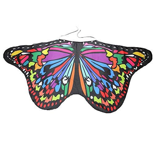 YWLINK Eltern Kind Chiffon Klassisch Karneval Bohemien Schmetterling Print Schal Jungen MäDchen Cosplay ZubehöR Erwachsener Weihnachten Halloween FlüGel Umhang Bunt Pashmina (Größe:147 *70CM,ElternB)