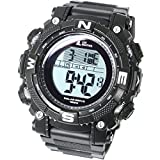 [Lad Wetter] Leistungsstarkes Solar Digitale Armbanduhr Sport Military Lap/Split Herren-Armbanduhr