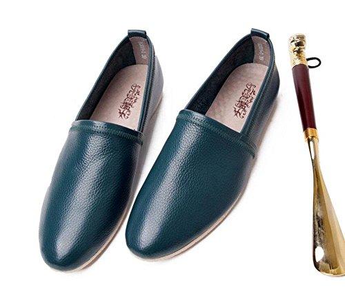 SHIXR Herren Lace-Up Flats Oxford Sommer Neue Hosen Schuhe First Layer Weiche Leder Leder Bequeme Schuhe Lazy Schuhe Ein Pedal Schuhe Derby Schuhe Green