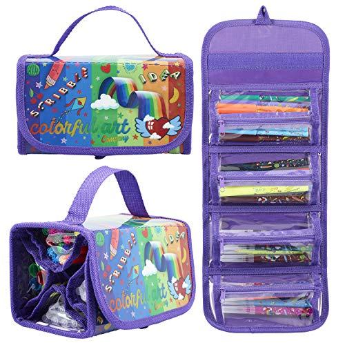 Colorful Art Co. Duftmarker, Filzspitzen, mit Fruchtduft, tolles Geschenk für Mädchen im Alter von 4 bis 12 Jahren, 38 Farben und Geschmacksrichtungen, inklusive Funky Mäppchen mit Fächern