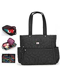 Yoovi Large Capacity Handbag Satchel Diaper Tote Bag Set For Baby With Changing Mat And 2PCS Small Zippered Bags...