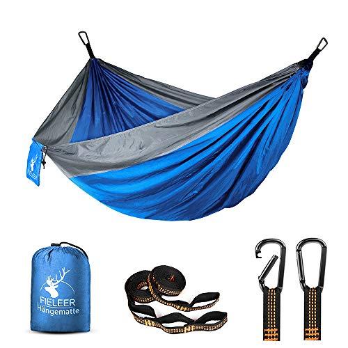 Fieleer Ultraleicht 2 Personen Reise-Hängematte Camping Outdoor | Mit Premium Karabinern & 2,5cm Breiten Schwerlastgurten mit 6 Schlingen | 300x200cm, 300kg Traglast, Fallschirm Nylon | Für Trekking