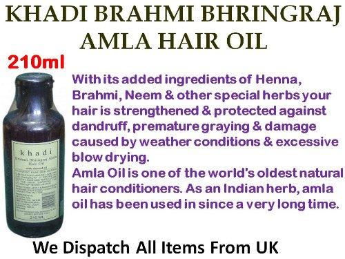 Khadi Brahmi Bhringraj Amla Hair Oil with Almond Oil Ayurvedic Paak Sidh Method Stops Greying Dandruff *Ship from UK