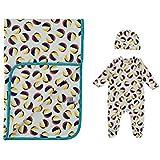 Coffret cadeau bébé trois pièces Kit Comprend 2pièces bébé Body et chapeau et couverture motif ballon de plage Bleu 90cm x 65cm. Par Olive & Moss