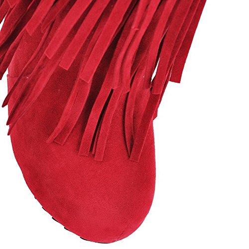VogueZone009 Donna Tirare Tacco Alto Pelle Di Mucca Bassa Altezza Stivali con Frange Rosso