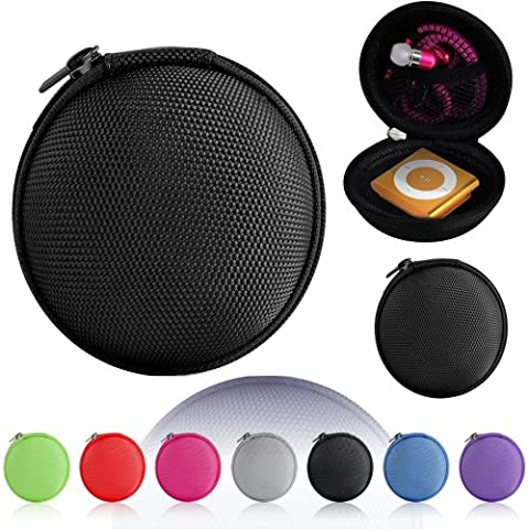 Magic Global Gadgets® Black Storage Bag Universal Carrying Clamshell Pouch Case Cover For MP3, Earphones, Headphones, iPod Shuffle, iPod Nano 6, Apple Watch Sport, Memory Cards, Gym Use