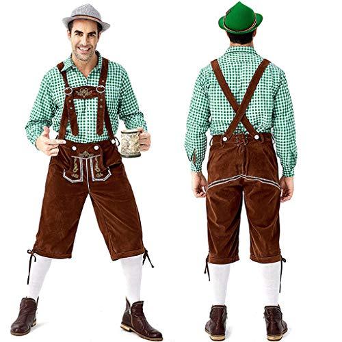 Trachtenkleid Set für Oktoberfest Herren Traditionelle Oktoberfest-Kleidung Kariertes Hemd und Overall Männer Langarm Bierfest Lätzchen Kleidung Herren Cosplay Kostüme - Oktoberfest Kostüm Mann