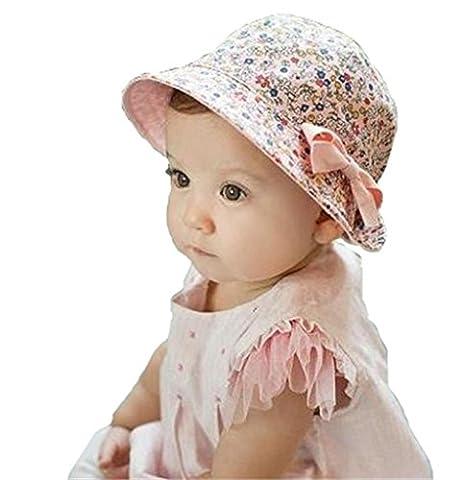 Sumolux Baby Girl Summer Sun Hat Bébé Fille Chapeau de soleil Coton à Double Usage Recto-Verso Bowknot