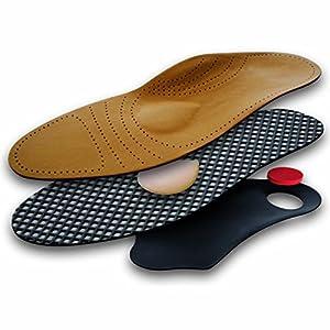 Lenzen Premium Fußbett Einlegesohle aus Leder mit Mittelfußstütze