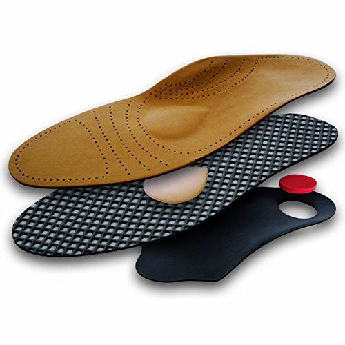 Hochwertige Echtleder Einlegesohle mit Fußbett und Pelotte, Leder, orthopädisch, Aktivkohle, antibakteriell, atmungsaktiv (36)