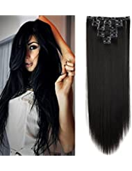 "23"" Extensions Cheveux Clips 8 Bandes - Extension a Clip Cheveux Lisse - Clip in Hair Extensions 58cm (23 pouces) - Noir Naturel"