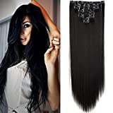 23' Extensions Cheveux Clips 8 Bandes - Extension a Clip Cheveux Lisse - Clip in Hair Extensions 58cm (23 pouces) - Noir Naturel