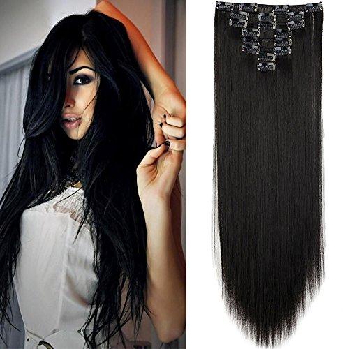 Extension clip capelli lisci full head hair estensioni 8 fasce 65cm 26pollici capelli lunghi effetto naturale nero naturale