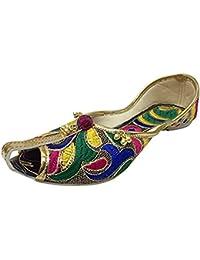 kalra Creations Mujer Tradicional hecha a mano india de piel de terciopelo Zapatillas de fiesta, color Morado, talla 38 EU