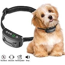 Collar Antiladridos para Perros -OMorc, Collar Adiestramiento Sin Descarga eléctrica Collar automático utiliza sonidos y vibraciones audibles, seguro, inteligente, impermeable, 7 niveles de sensibilidad, Utiliza sonidos y vibraciones audibles