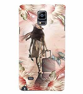 PrintVisa Travel Girl Colorful 3D Hard Polycarbonate Designer Back Case Cover for Samsung Galaxy Note 4