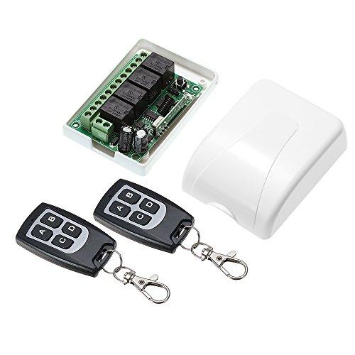 Festnight Wireless Fernbedienung Schalter, Universal DC 12V 433 MHz 4CH Empfänger Modul und 4 Tasten RF Sender Fernbedienungen Smart Home Automation Dc 12v Wireless Remote