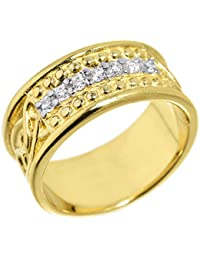 Little Treasures - 10 ct Yellow Gold Celtic Knot Diamond Wedding Band